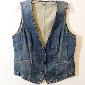 J. Jill denim vest distressed light wash medium